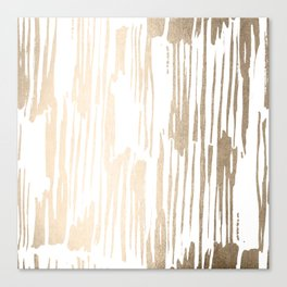 White Gold Sands Thin Bamboo Stripes Canvas Print