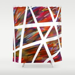 Colorful Chaos - White Stripes Shower Curtain