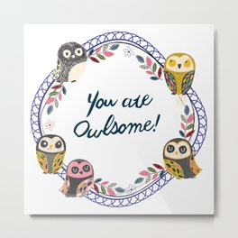 Owl-Blue (You Are Owlsome) Metal Print