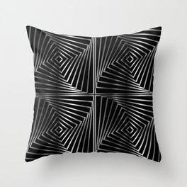 Rotating silver squares Throw Pillow