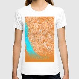 Liverpool, England, Gold, Blue, City, Map T-shirt