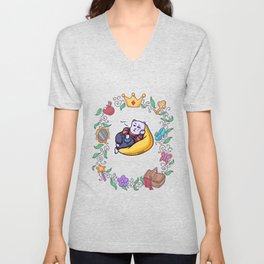 lazy cat chilling fairy tale Unisex V-Neck
