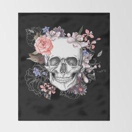 Dia Los Muertos, Floral Skull Throw Blanket