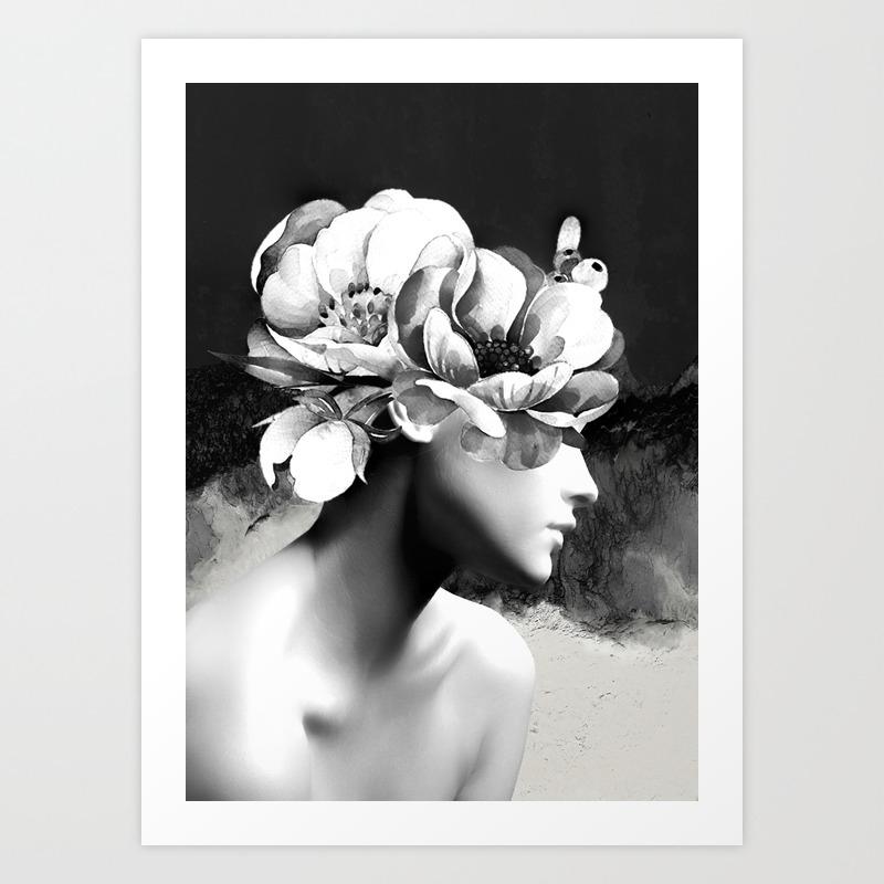 Floral portrait black and white art print