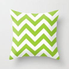 Large chevron pattern / yellow green Throw Pillow