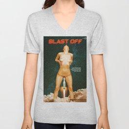 Blast Off - A Quiverish Production - Erotic Collage Art Unisex V-Neck