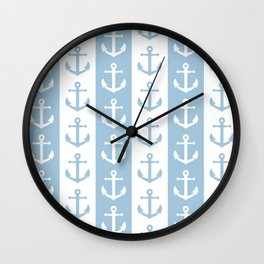 Nautical Sailor Stripes with Anchor Pattern Pale Blue 241 Wall Clock
