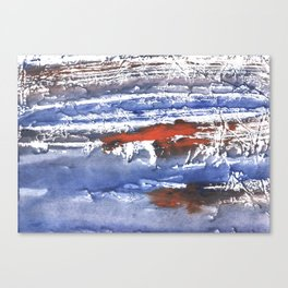 Blue gray stained aquarelle pattern Canvas Print