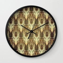 Golden Art Deco print Wall Clock