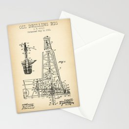 Oil Drilling Rig vintage patent Stationery Cards