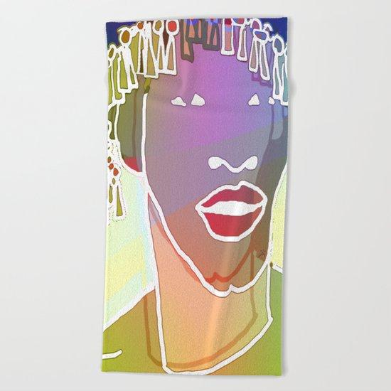 Ebony Purple Headdress White Beach Towel