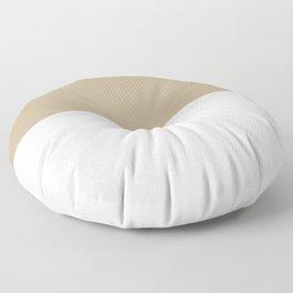 White and Khaki Brown Horizontal Halves Floor Pillow