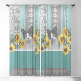 Bathtub with black and white cat - sunflower Sheer Curtain
