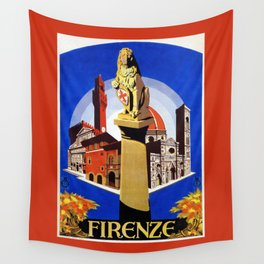 Florence Firenze travel, lion statue Wall Tapestry