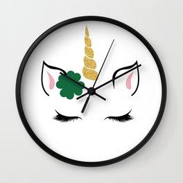 Cute Unicorn St. Patrick's Day Funny Shamrock Irish Wall Clock