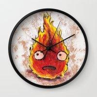 calcifer Wall Clocks featuring Burning Calcifer by KeithKarloff