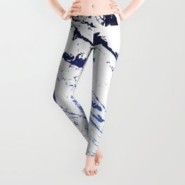 Modern white marble blue ombre navy blue watercolor gradient fade Leggings