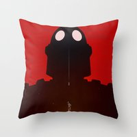 iron giant Throw Pillows featuring Iron Red by Duke Dastardly