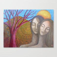 Lovers Under the Orange Moon Canvas Print