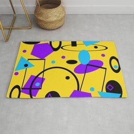 Retro abstract geometric print yellow Rug