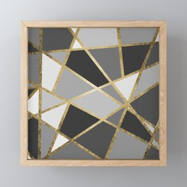 Black & Gray Modern Geo Gold Triangles Framed Mini Art Print