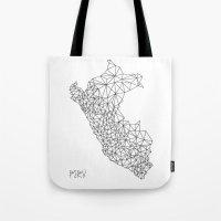 peru Tote Bags featuring Mapa Peru by Romivavi