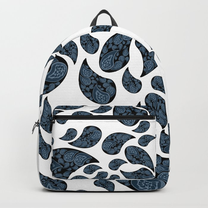 Paisley turquoise, black and white. Backpack