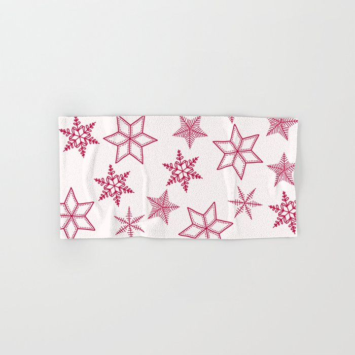 Red Snowflakes On White Background Hand & Bath Towel