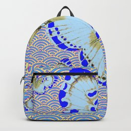 ORIENTAL STYLE BLUE-WHITE EXOTIC BUTTERFLY BLUE ART Backpack