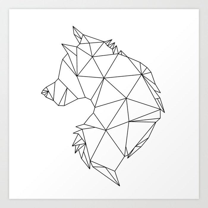 Geometric Wolf (Black on White) Art Print by ...