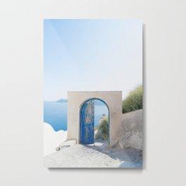 Santorini Door Metal Print