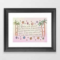 Be Gentle With YourSelf Inspirational Quote Drawing Framed Art Print