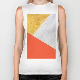 Carrara Marble with Gold and Pantone Flame Color Biker Tank
