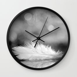 White Feather In Black And White Bokeh Background #decor #society6 #buyart Wall Clock