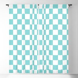 Gingham Pale Turquoise Checked Pattern Blackout Curtain
