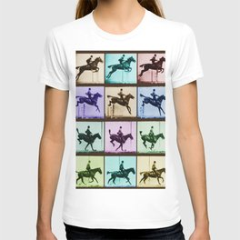 Time Lapse Motion Study Horse And Rider Color T-shirt