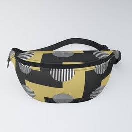 Zig Zags Circles and Stripes - Yellow Black Gray White Fanny Pack