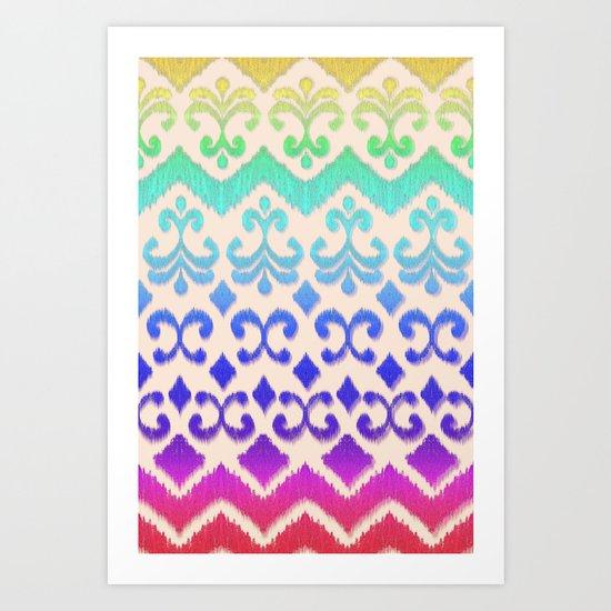 Ikat Rainbow Harmony on Cream Art Print