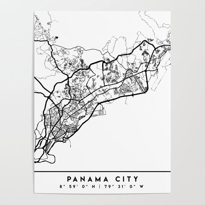 PANAMA CITY PANAMA BLACK CITY STREET MAP ART Poster by deificusart