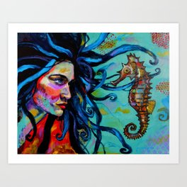 Scarlett and the Seahorse Art Print