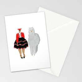 Peruvian Girl and Friend Stationery Cards
