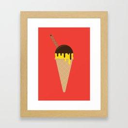 Ice Cream Cone – Vanilla and Chocolate Sauce Framed Art Print