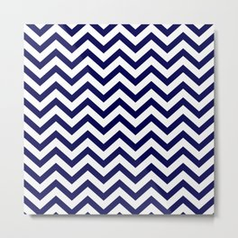 Simple Chevron Pattern - Blue & White - Mix & Match with Simplicity of life Metal Print