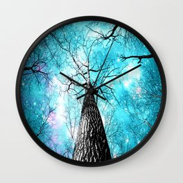 Wintry Trees Galaxy Skies Turquoise Cyan Wall Clock