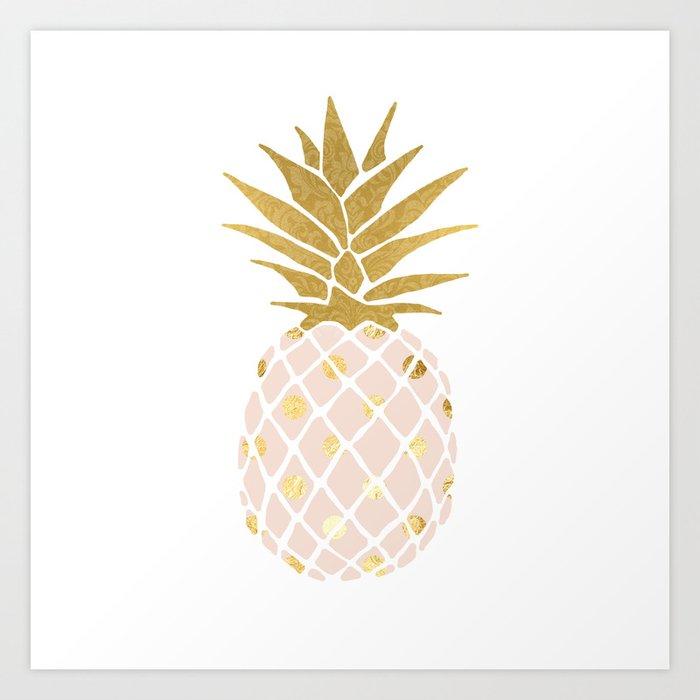 Pink Gold Pineapple Art Print