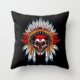 Indian Skull Indigenous Peoples Day Throw Pillow
