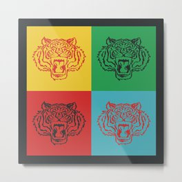 Pop Art Style Tiger Metal Print
