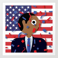obama Art Prints featuring Obama by Stephen Cheetham