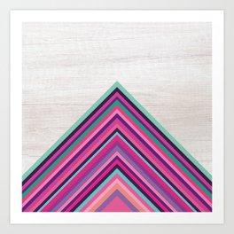 Wood and Bright Stripes, Chevron - Geometric Design Art Print