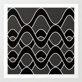 Curvlinear in black , white and gray Art Print